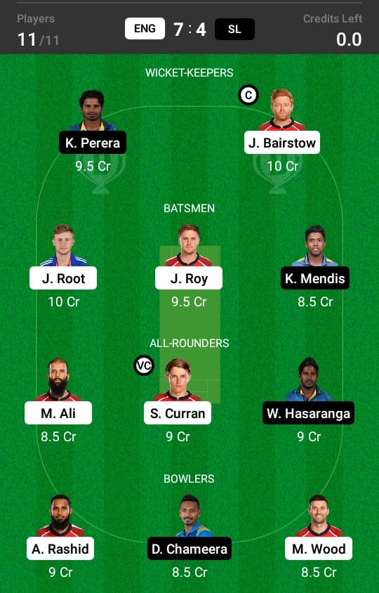 ENG vs SL 1st ODI Dream11 Prediction